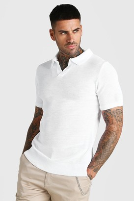 boohoo Mens White Short Sleeve Muscle Fit Textured Notch Neck Polo, White