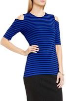 Vince Camuto Women's Cold Shoulder Stripe Short Sleeve Top