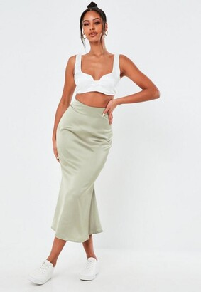 Missguided Mint Satin A Line Slip Midi Skirt