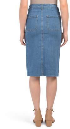 Juniors Denim Midi Skirt With Buttons