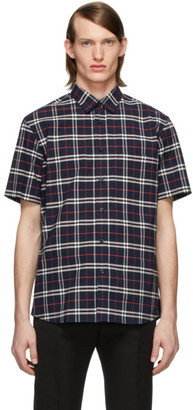 Burberry Navy Check George Short Sleeve Shirt