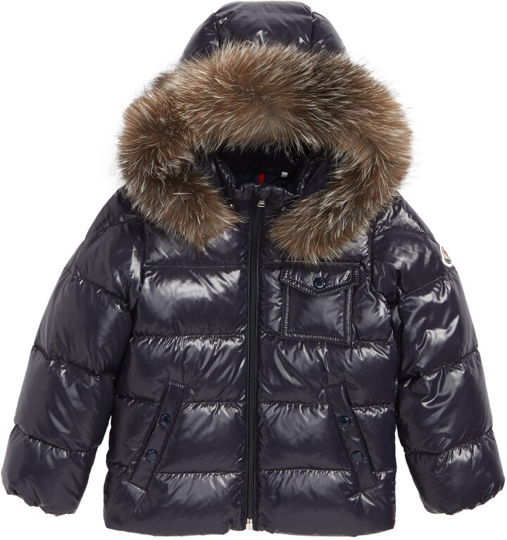 Moncler Byron Water Resistant Down Jacket with Genuine Fox