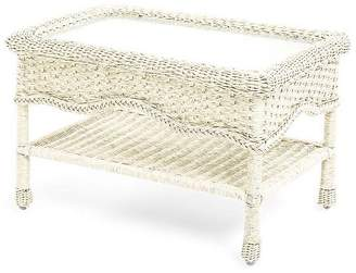 Plow & Hearth Prospect Hill Wicker Coffee Table with Glass Tabletop
