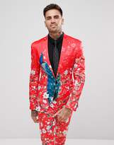 Asos Super Skinny Suit Jacket With Red Peacock Print