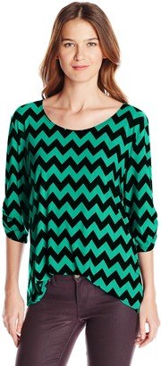 Star Vixen Women's 3/4 Cinch Sleeve Top with Double-Strand Necklace