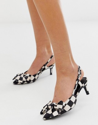 Asos Design DESIGN Sherry bow kitten heels in black and white checkerboard-Multi