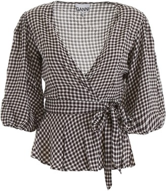 Ganni Gingham Wrap Blouse