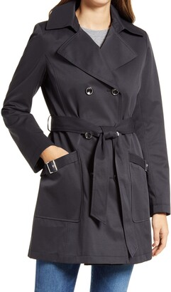 Via Spiga Water Resistant Belted Trench Coat with Removable Hood