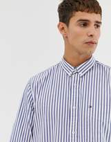 Tommy Hilfiger striped button down oxford shirt with pique flag logo in blue