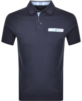 Barbour Tartan Pocket Polo T Shirt Navy