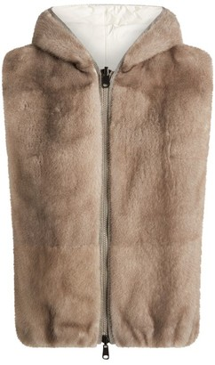 Brunello Cucinelli Reversible Faux Shearling Padded Gilet