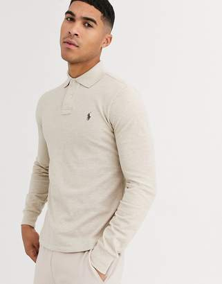 Polo Ralph Lauren slim fit long sleeve pique polo player logo in beige marl