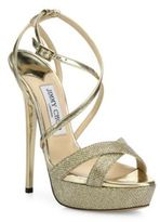 Jimmy Choo Liddie 145 Glitter & Metallic Leather Platform Sandals