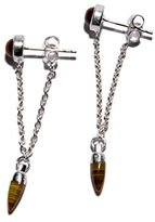 Pamela Love Women's 925 Sterling Silver with Tiger's Eye Pendulum Chain Studs