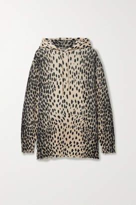 R 13 Oversized Distressed Cheetah-print Cashmere Hoodie - Beige