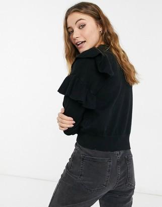 New Look frill front sweatshirt in black
