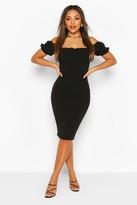 boohoo Petite Puff Off Shoulder Midi Dress