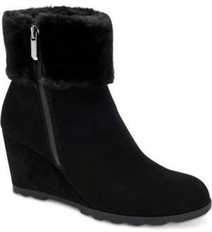 Alfani Women's Step 'N Flex Oreena Faux-Fur-Cuff Wedge Booties, Created for Macy's Women's Shoes