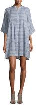 Rag & Bone Plaid Pintucked Shirtdress, Blue/White