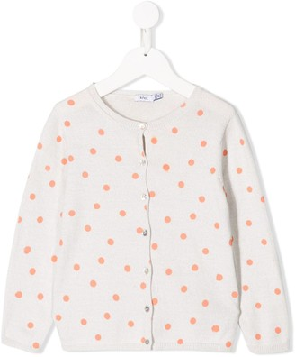 Knot Polka Dot Knitted Cardigan