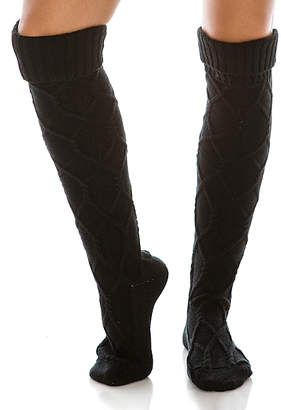 Dnmc DNMC Women's Knee Highs Black - Black Diamond-Design Knit Boot Socks