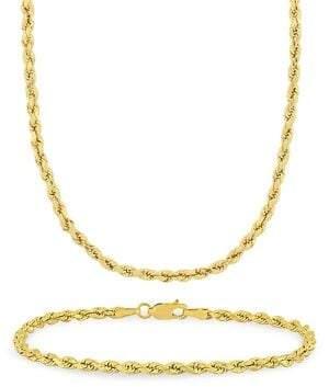 Sonatina 2-Piece 14K Yellow Gold Rope Chain Necklace & Bracelet Set