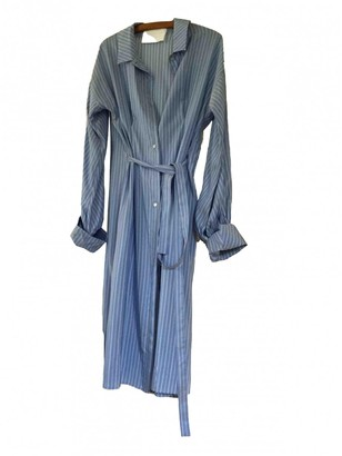 Mark Kenly Domino Tan Blue Silk Dress for Women