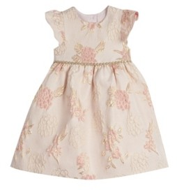 Laura Ashley Little Girls London Flutter Sleeve Brocade Holiday Dress