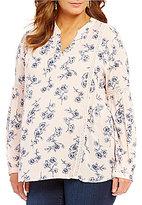 Blu Pepper Plus V-Neck Long Sleeve Floral Print Tunic