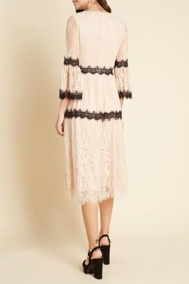ModCloth Blush Mixed Lace Long Sleeve Dress