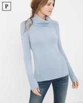 White House Black Market Petite Stitch-Detail Turtleneck Sweater