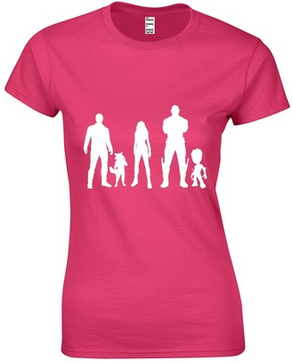 JLB Print Characters Silhouettes Super Hero Movie & Comic Book Fan Premium Quality Fitted T-Shirt Top for Women and Teens Hot Pink