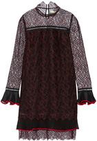 Jonathan Simkhai Silk Chiffon-trimmed Embroidered Tulle Mini Dress - Black
