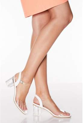 Quiz White Clear Strap Low Block Heel Sandals