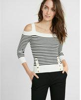 Express striped fitted ribbed cold shoulder sweater