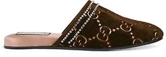 Gucci Women's Crystal-Embellished Velvet Slippers - Brown