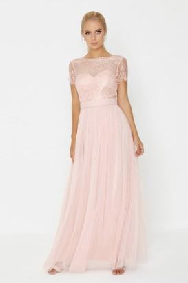 Bridesmaid Pink Lace Overlay Maxi Dress