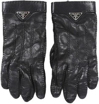 Prada Black Leather Gloves