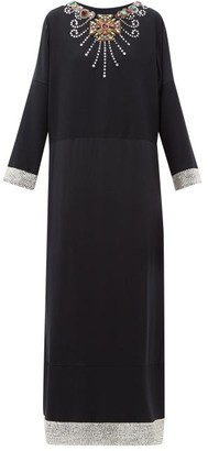 Gucci Crystal-embellished Wool And Silk-blend Satin Gown - Black Multi