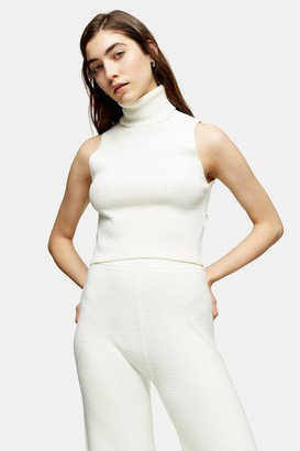 Topshop Ivory Sleeveless Roll Neck Knitted Top