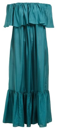 Kalita La Fontelina Tiered Silk Maxi Dress - Womens - Green