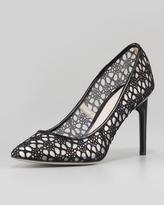 Sigrid Crochet Lace Pump, Black