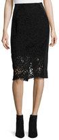 Rebecca Taylor Vien Lace Pencil Skirt, Black/Navy