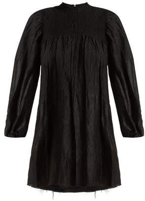 Marques Almeida Marques'almeida - Smocked Long-sleeved Mini Dress - Womens - Black