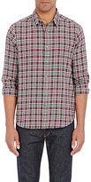 Theory MEN'S PLAID ZACK PS SHIRT-RED SIZE S