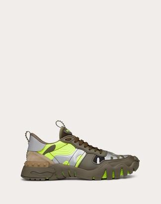 Valentino Garavani Uomo Camouflage Rockrunner Plus Sneaker Man Military Green/lime 100% Pelle Di Vitello - Bos Taurus 39