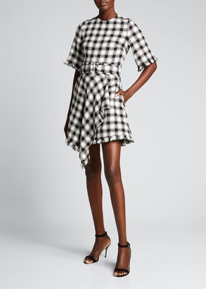 Oscar de la Renta Plaid Asymmetrical Frayed Day Dress w/ Belt