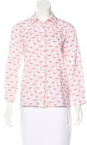 Alice + Olivia Flamingo Print Button-Up Top