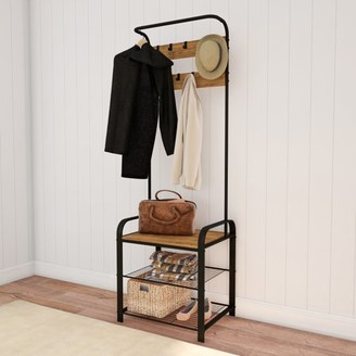Entryway Coat Rack- Metal Hall Tree-Storage Bench, 9 Hooks, 2 Shelves for Shoes & Hanging Rod-Rustic Farmhouse Design Mudroom Organizer by Lavish Home