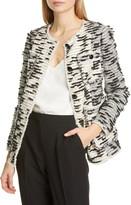 Rebecca Taylor Patched Fringe Tweed Jacket